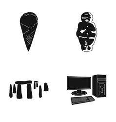 food travel and or web icon in black style vector image