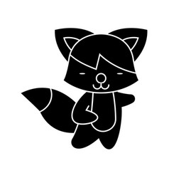 fox cute icon black sign on vector image vector image