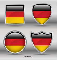 germany flag in 4 shapes collection vector image vector image