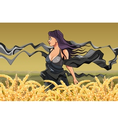Girl with fluttering scarves in the field vector
