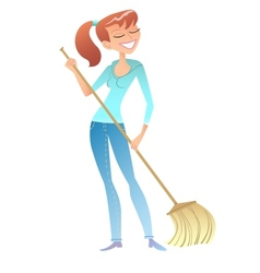 Girl with the broom cleaner housewife volunteer vector