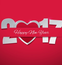 Happy new year 2017 with heart on pink background vector