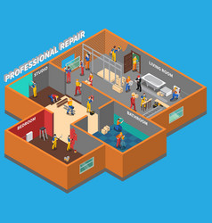 Home repair worker people composition vector
