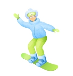 Old woman in snowboarding vector