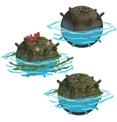 Outdated underwater mine with seaweed and crab vector