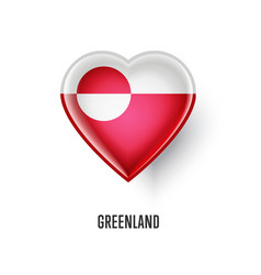 Patriotic heart symbol with greenland flag vector