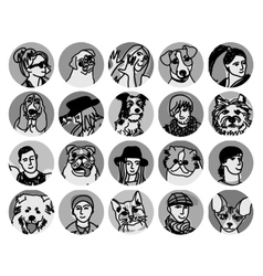 People and pets faces round icons gray scale set vector image