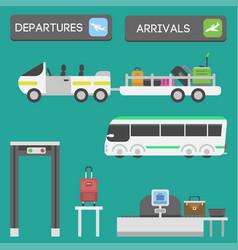 plane airport transport symbols flat design vector image vector image