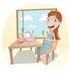 Pregnant woman work at home vector image vector image