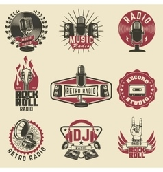 Radio labels Retro radio record studio rock and vector image