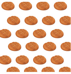 Seamless pattern round bread bun baker vector