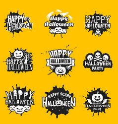 set of happy halloween black stickers on yellow vector image vector image