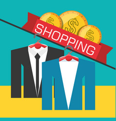Suit and cash shopping concept vector