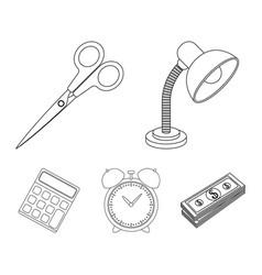 table lamp scissors alarm clock calculator vector image