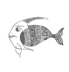 Tangle Patterns stylized Fish vector image