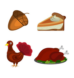 thanksgiving day acorn turkey pumpkin pie vector image