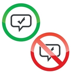 Tick mark message permission signs vector image vector image