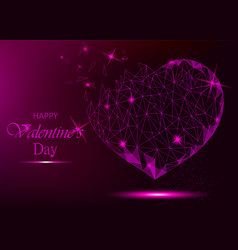 valentine day greeting card with polygonal heart vector image vector image