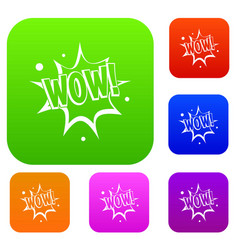 wow explosion effect set color collection vector image vector image