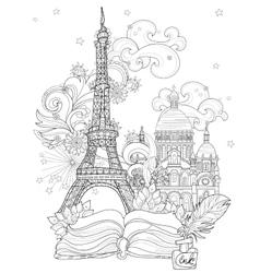 Zen art stylized eiffel tower doodle vector