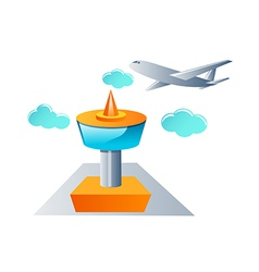 Icon tower and airplane vector