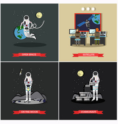 Set of space exploration posters banners vector