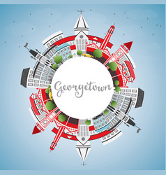 Georgetown skyline with gray buildings blue sky vector