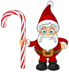 Santa Claus Holding Candy Cane vector image