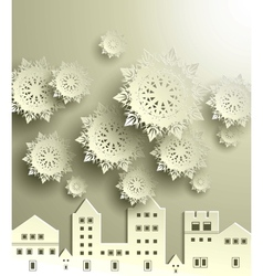 Town with snowflake vector image