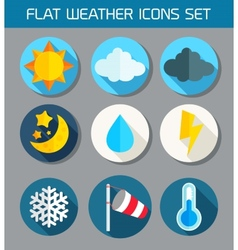 Flat weather icons set for web and mobile vector
