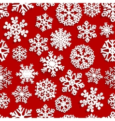 Seamless pattern of paper snowflakes vector