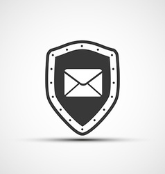 Icon metal shield with envelope vector