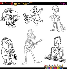 Musicians cartoon coloring page vector