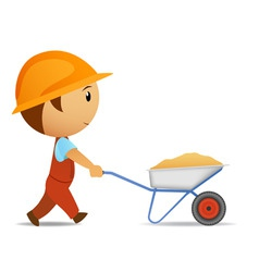 Cartoon vector worker with wheelbarrow vector