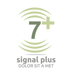 Logo signal number 7 plus green figure wireless vector