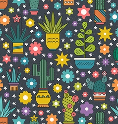 Seamless cactus pattern vector