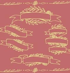 Set of doodle ornate floral ribbons vector
