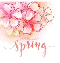 Watercolor spring flower background vector