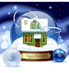 Snow globe with green wooden christmas house vector