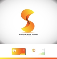Alphabet letter S orange 3d abstract logo design vector image