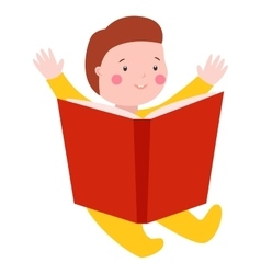 Baby kid read book vector image vector image