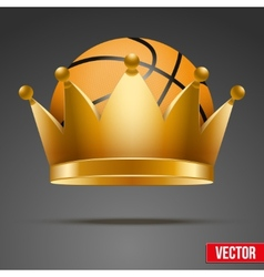 Background of Basketball ball with royal crown vector image vector image