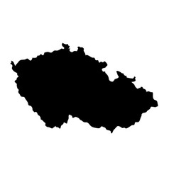 black silhouette country borders map of czech vector image
