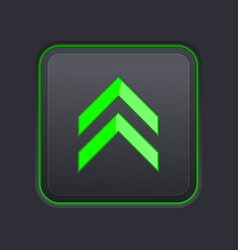 Black square button with green up arrow vector