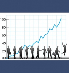 business team chart company growth vector image