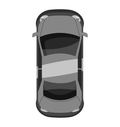 Car top view icon gray monochrome style vector