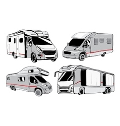 cars Recreational Vehicles Camper Vans Caravans vector image