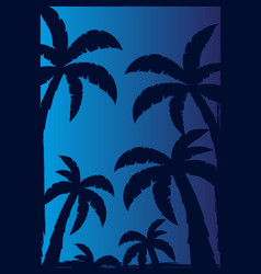 Colorfull palms with dark background vector