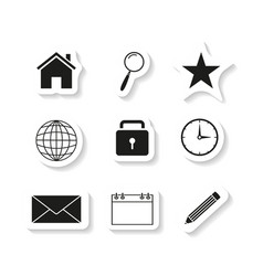 contact set sticker icons vector image