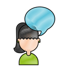 cute young girl with speech bubble avatar vector image